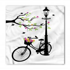 Çiçek ve Bisiklet Desenli Bandana Fular