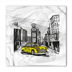 Sarı Taksi Desenli Bandana Fular