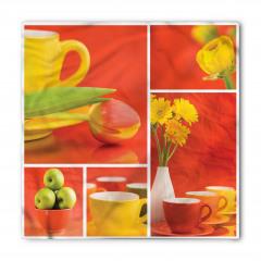 Sarı Çiçek ve Fincan Bandana Fular