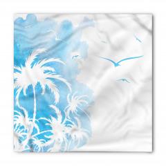 Mavi Palmiye ve Kuşlar Bandana Fular