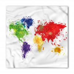 Boyalı Dünya Haritası Bandana Fular