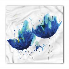 Sulu Boya Mavi Çiçekler Bandana Fular