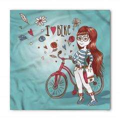 Bisikletli Gözlüklü Kız Bandana Fular