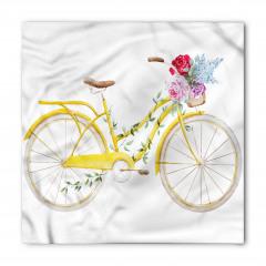Çiçekli Sepetli Sarı Bisiklet Bandana Fular