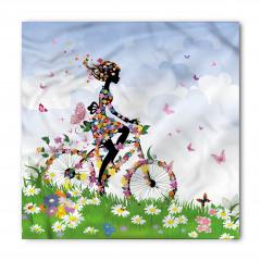Çiçekli Bisikletli Kız Bandana Fular