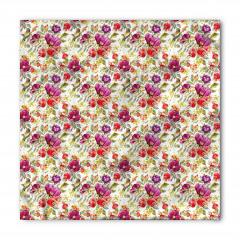 Kırmızı ve Mor Çiçekler Bandana Fular