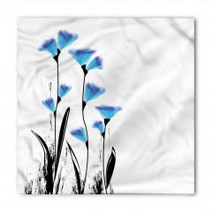 Mavi Dekoratif Çiçekler Bandana Fular