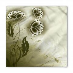 Bej Çiçek Desenli Bandana Fular