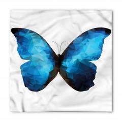 Mavi Siyah Kelebek Desenli Bandana Fular