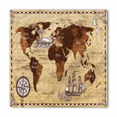 Nostaljik Dünya Haritası Bandana Fular