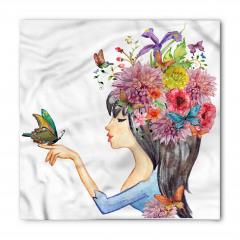 Siyah Saçlı Çiçekli Kız Bandana Fular