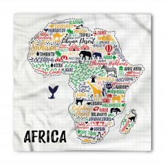 Afrika Hayvan Haritası Bandana Fular