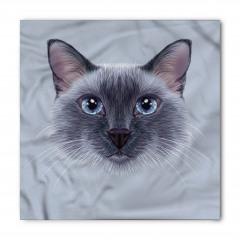 Mavi Gözlü Kedi Desenli Bandana Fular