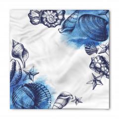 Mavi Deniz Kabuğu Desenli Bandana Fular