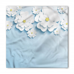 Beyaz Mavi 3D Çiçekler Bandana Fular