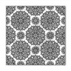 Siyah Beyaz Mandala Çiçekleri Bandana Fular