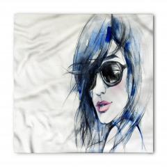 Mavi Saçlı Kız Desenli Bandana Fular