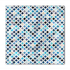 Mavi Şık Daire Desenli Bandana Fular