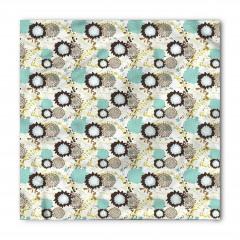 Mavi Kahverengi Çiçek Bandana Fular