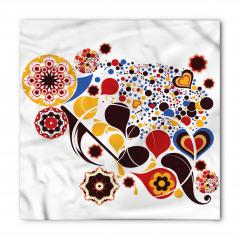 Çiçekli ve Kalpli Bandana Fular