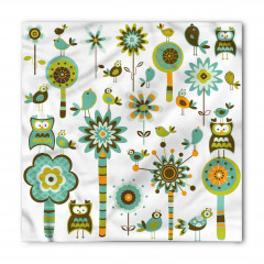 Baykuş ve Çiçek Desenli Bandana Fular