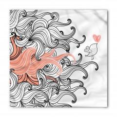 Kalp ve Kuş Desenli Bandana Fular