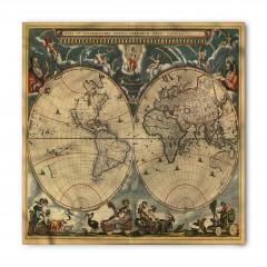 Antik Dünya Haritası Bandana Fular