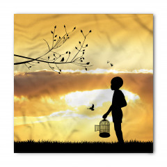 Kafesli Çocuk ve Kuş Bandana Fular