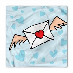 Mektup Taşıyan Kuş Desenli Bandana Fular