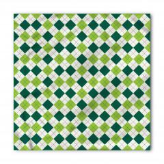 Yeşil ve Beyaz Dörtgen Bandana Fular