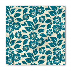 Mavi ve Beyaz Çiçekler Bandana Fular