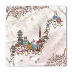 Japon Evleri Desenli Bandana Fular