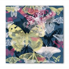 Sarı ve Beyaz Kelebek Bandana Fular