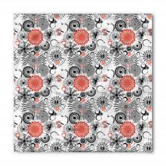 Siyah Kırmızı Çiçekler Bandana Fular