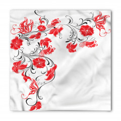 Siyah Dal Kırmızı Çiçek Bandana Fular