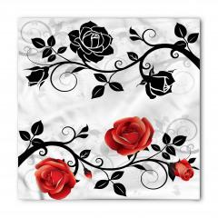 Kırmızı Siyah Güller Bandana Fular
