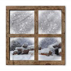 Karlı Pencere Desenli Bandana Fular