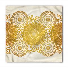 Altın Çiçek Desenli Bandana Fular