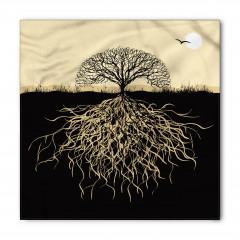 Ağaç ve Kökleri Desenli Bandana Fular