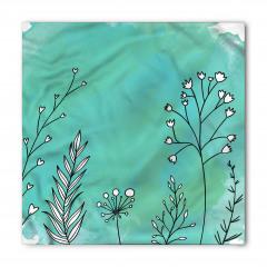 Beyaz Çiçekler Desenli Bandana Fular