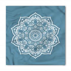 Beyaz Mandala Çiçekli Bandana Fular
