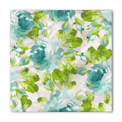 Mavi Çiçek Desenli Bandana Fular