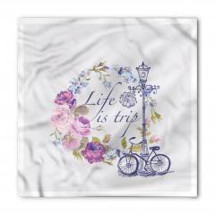 Mor Çiçek ve Bisiklet Bandana Fular
