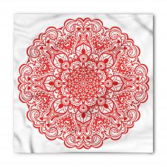 Kırmızı Beyaz Çiçekli Bandana Fular