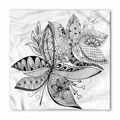 Siyah Beyaz Çiçekli Bandana Fular