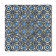 Mavi Kalpli Çiçekler Bandana Fular
