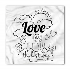 Siyah Beyaz Aşk Bandana Fular