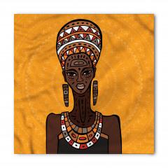 Kahverengi Küpeli Kadın Bandana Fular