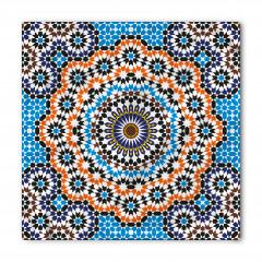 Mavi Turuncu Çiçekli Bandana Fular