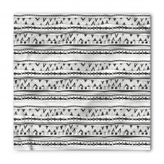 Gri Beyaz Geometrik Bandana Fular